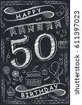 anniversary happy birthday card ...   Shutterstock .eps vector #611397023