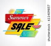 summer sale banner design... | Shutterstock .eps vector #611409857
