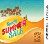 summer sale banner design... | Shutterstock .eps vector #611413607