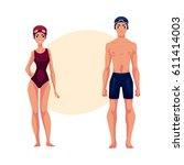 couple of swimmers  man and... | Shutterstock .eps vector #611414003