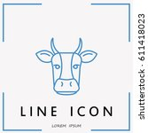line icon  cow | Shutterstock .eps vector #611418023