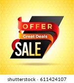 summer sale banner design... | Shutterstock .eps vector #611424107