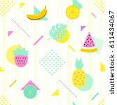 summer seamless pattern with... | Shutterstock .eps vector #611434067