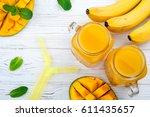 mango juice. summer drink with... | Shutterstock . vector #611435657