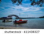 view on the beach of tidung... | Shutterstock . vector #611438327