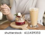 coffee and dessert | Shutterstock . vector #611439353