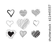 hand drawn hearts set. heart... | Shutterstock .eps vector #611445557