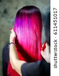 purple and pink ombre hair... | Shutterstock . vector #611451017