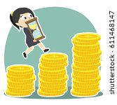 businesswoman is climbing coin... | Shutterstock .eps vector #611468147