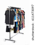female clothes hanging on... | Shutterstock . vector #611473097
