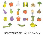 health food color icons | Shutterstock .eps vector #611476727