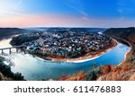 panoramic view from above to... | Shutterstock . vector #611476883