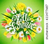 hello summer poster  hand drawn ... | Shutterstock .eps vector #611477687