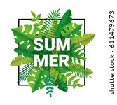 tropical summer time background | Shutterstock .eps vector #611479673