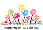 colorful sweet candy banner.... | Shutterstock .eps vector #611485403