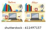 messy desktop clutter  tidy... | Shutterstock .eps vector #611497157