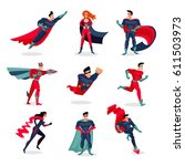 superheroes characters set with ... | Shutterstock .eps vector #611503973