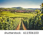 countryside landscape with a... | Shutterstock . vector #611506103