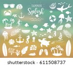 summer vintage silhouettes and... | Shutterstock .eps vector #611508737