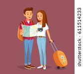 couple of tourists with travel...   Shutterstock .eps vector #611514233