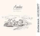 Andes. Sketch of a mountains, engraving style, hand drawn vector illustration