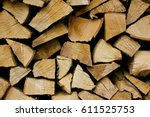 Chopped Wood Stacked In Rows