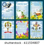 easter poster template set. egg ... | Shutterstock .eps vector #611534807
