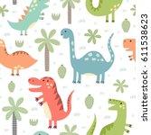 cute dinosaurs seamless pattern....   Shutterstock .eps vector #611538623
