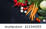 organic vegetables frame with... | Shutterstock . vector #611544353