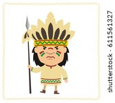 angry american indian in... | Shutterstock .eps vector #611561327