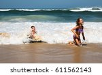 brother and sister playing with ... | Shutterstock . vector #611562143