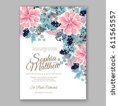 peony wedding invitation... | Shutterstock .eps vector #611565557