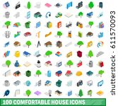 100 comfortable house icons set ... | Shutterstock .eps vector #611570093