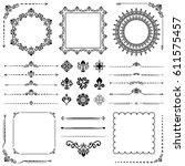 vintage set of vector... | Shutterstock .eps vector #611575457