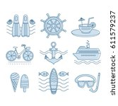 set of icons summer. collection ... | Shutterstock . vector #611579237