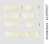 adhesive or masking tape set ... | Shutterstock .eps vector #611595317