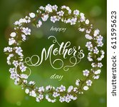 mothers day greeting card.... | Shutterstock .eps vector #611595623