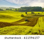 agricultural tractor on the... | Shutterstock . vector #611596157