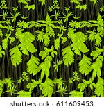 pattern with tropical jungle... | Shutterstock .eps vector #611609453
