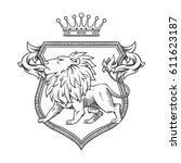 vector image of a heraldic... | Shutterstock .eps vector #611623187