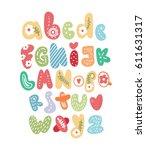 cute alphabet for kids    Shutterstock .eps vector #611631317
