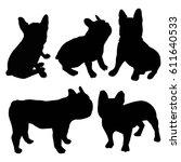 bulldog silhouette  animal ... | Shutterstock .eps vector #611640533