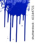 Blue Paint Dripping Isolated...