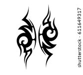 tattoo sketch tribal vector... | Shutterstock .eps vector #611649317