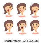 set of emotional character.... | Shutterstock .eps vector #611666333