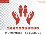man and woman  hands icon... | Shutterstock .eps vector #611668733