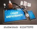 Small photo of Lyase deficiency (genetic disorder) diagnosis medical concept on tablet screen with stethoscope.