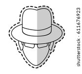 suspicious looking man icon... | Shutterstock .eps vector #611676923