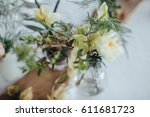on a serving buffet table there ... | Shutterstock . vector #611681723