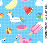 seamless pattern with summer... | Shutterstock .eps vector #611684183